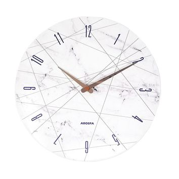 """12"""" White Marble with Lines Wall Clock"""