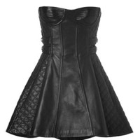 Balmain - Leather Bustier Dress in Black