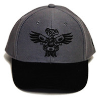 Adjustable Eagle Cap in Gray and Black designed by Allan Weir, Haida