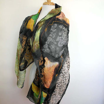 Elegant Silk Fashion Stole. Silk Felted Evening Wrap. Made in Australia