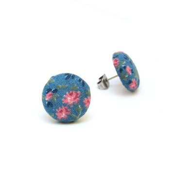 Vintage style button earrings - blue fabric earrings -  tiny floral stud earrings - romantic post earrings - pastel pink - gift for her