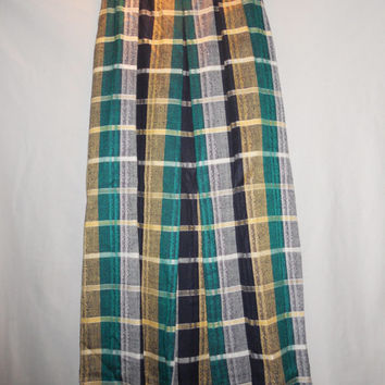 Vintage Green Yellow Black Plaid Tartan Long Skirt