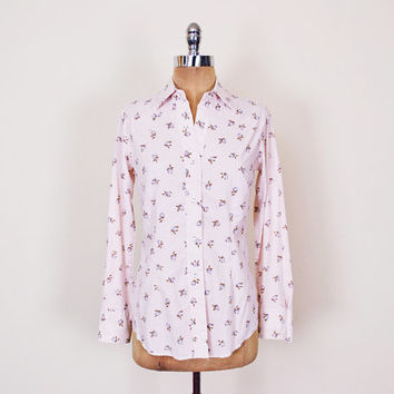 Pink Floral Shirt Floral Print Shirt Western Shirt Western Blouse Pearl Snap Shirt Snap Up Button Up Shirt Yoke 70s Shirt Hippie S Small
