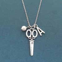 Personalized, Letter, Initial, White, Pearl, Silver, Scissors Necklace, Birthday, Best friends, Gift, Jewelry