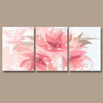 Wall Art Canvas Watercolor Artwork Pottery Flourish Flower Floral Design Pink Tan Nursery Set of 3 Prints Bedroom Bathroom Three