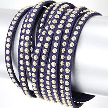 Purple and Gold Wrap Style Gold Stud Thin Leather Bracelet Materials Leather, Length 16 Inch Width 1 Inch Fashion Thin Leather Bracelet.