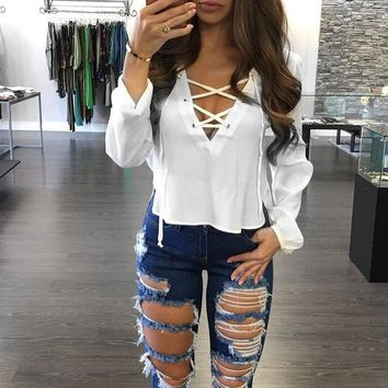Fashion Women Ladies Sexy Blouse Lace Up Bandage Long Sleeve Solid Shirts Casual Loose Top Casual Tracksuits Female Plus Size