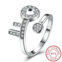 925 Sterling Silver Ring Women's Open ring key diamond ring