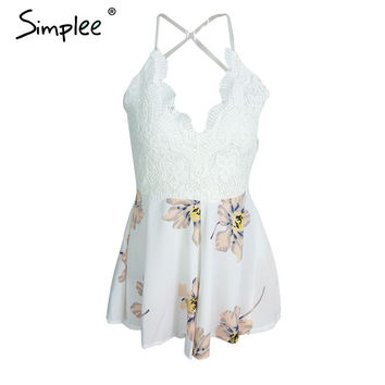Simplee Apparel Strap white lace elegant jumpsuit romper Sexy backless chiffon summer playsuit Women boho floral short overalls