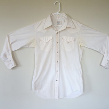 Men's western H bar C shirt, pearl snap button up white cotton shirt, yoked long sleeve shirt, cowboy rockabilly shirt, Large
