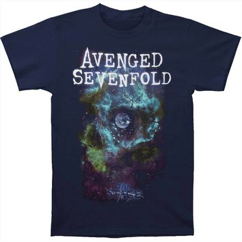 Avenged Sevenfold Men's  AVS Space Face Logo Mens Reg T T-shirt Navy
