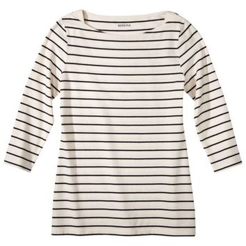 Merona® Women's 3/4 Sleeve Refined Boat Neck Tee - Stripes