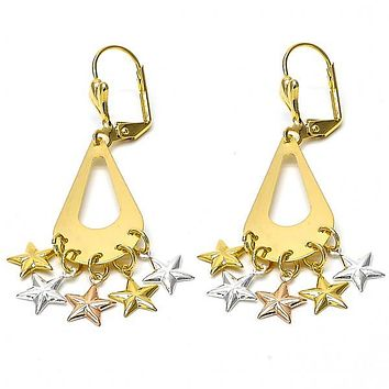 Gold Layered 060.016 Chandelier Earring, Star Design, Polished Finish, Tri Tone