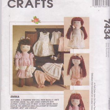 """Pattern for 18"""" stuffed Emma doll and Victorian Era wardrobe including dress and undergarments fits other 18"""" dolls McCall's 7434 CUT"""