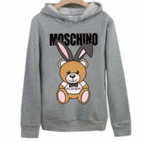 Moschino autumn and winter tide brand classic bear print loose couple models hooded sweater Grey