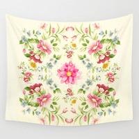 folk floral Wall Tapestry by Clemm