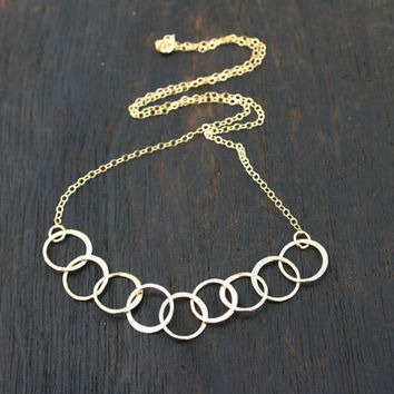 Gold link necklace. Gold link chain. Solid gold necklace. 14k solid gold chain. 14k gold chain. Handmade unique gold necklace.