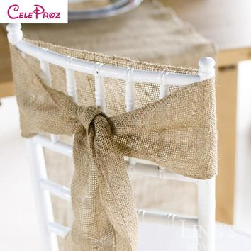 (10M/Lot) 10CM Natural Jute Burlap Wedding Chair Sash Roll