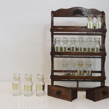 Vintage Wood / Wooden Spice Rack Set - 18 Small Glass Apothecary Jars Gold Label with Two Drawers - Mid Century Home Decor - Made in Japan