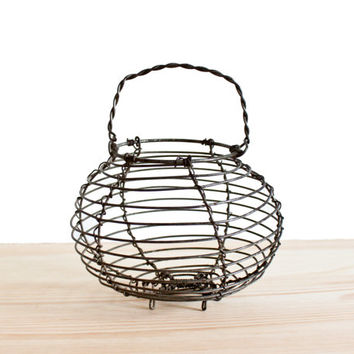 Miniature antique wireware egg basket - French vintage metal basket - French country kitchen home decor