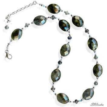 Labradorite Gemstone Opal Crystal Beaded Necklace