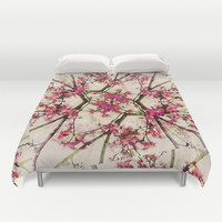 Red Deco Geometric Nature Collage Floral Motif Print  Duvet Cover by Danflcreativo