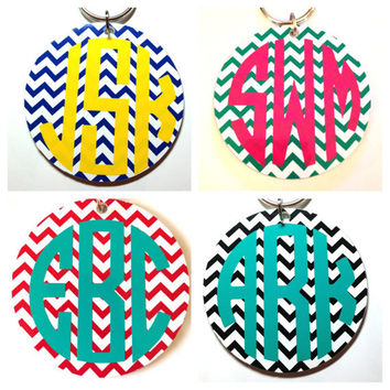 3 in Monogrammed Chevron Keychain or Tag for Luggage or Backpack - Bridesmaid Gift Newlywed Bride Teacher Sorority Sister Mom