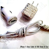 Product Ace(TM) Brand RHINESTONE HANDWORK BLING 8pin Aftermarket 3 Pc UsB Data Cable, Car Adapter & Wall Adapter (White Crystal)