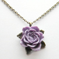 Mothers Day Necklace Pendant Chain, Flower Necklace, Rose Necklace Lavender Flower