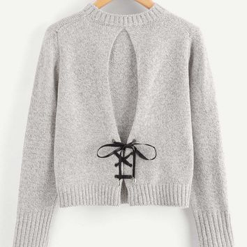 Lace Up Back Knit Sweater