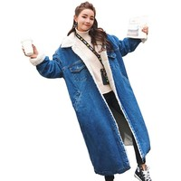 2018 New style Warms Winter Long Jeans Coat Bomber Women Winter Denim Jackets Basic Ladies Windbreaker Female Large Plus Size