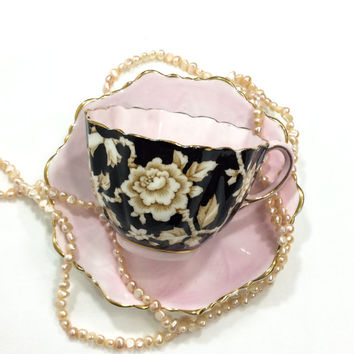 Paragon Tea Cup and Saucer, Wild Rose Pattern, Pink & Black, Fluted English Tea Cup, Bone China, 1940s, Vintage