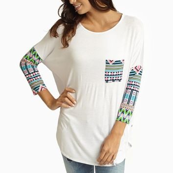 White Neon Multi-Color Printed Sleeve Top
