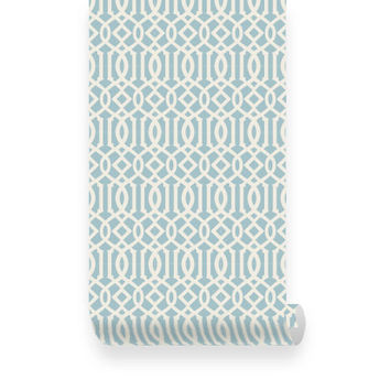 Trellis Pattern Dusky Blue Fabric Wallpaper