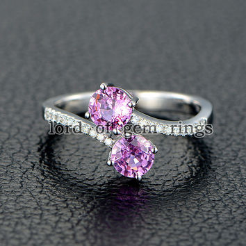 Double Round Pink Sapphire Engagement Ring Pave Diamond Wedding 14K White Gold Curved