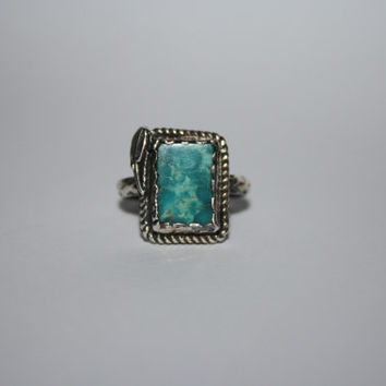 Feather Ring Antiqued Sterling Silver with square Turquoise Stone Ring Vintage Sterling Silver Ring Size  8 - free ship US