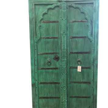 Indian Armoire Hand Carved Distressed Teal Green Teak Rustic Cabinet Furniture