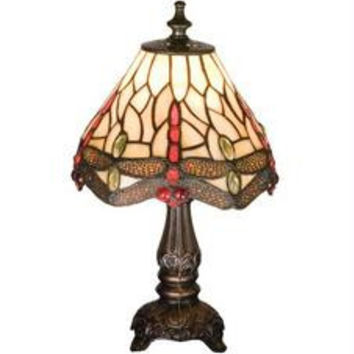 11.5 Inch H Tiffany Scarlet Dragonfly Mini Lamp Table Lamps