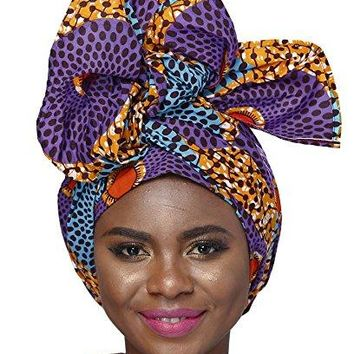 African Traditional Wax Print Head wrap Headwrap Scarf Tie,One Size