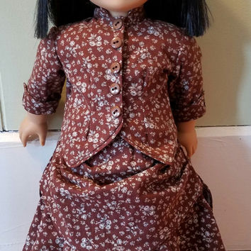 "American Girl Sized 18"" Doll 1870's Bustle Dress Historical Victorian 3-Piece Outfit OOAK - Ready to Ship"