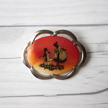 Vintage Red Swirl Milk Glass & Metal Cameo Brooch Pin with Colonial Dancers