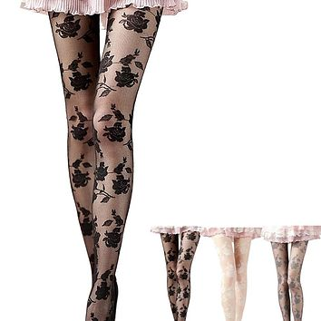 Feitong Feitong Women Fashional Sexy Ultra Sheer Summer Tights Elegant Rose Pattern Silk Pantyhose Female Tights Stocking