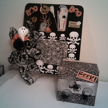 SKULLS AND SPIDERS Picture Frame With Spider Gift Box Halloween Costume Photo Frame Child Costume Picture Frame Halloween Skull Decor