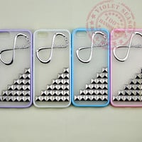 One Direction Iphone 5 Case, Infinity Directioner Iphone Case with Silver Pyramid Silver Studs, Studded Iphone 5 Case