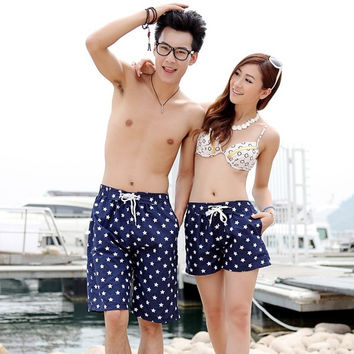 Leisure Mens Womens Lovers Swimming Beach Surf Board Swim Shorts Trunks Pants 2 pairs = 1704255556
