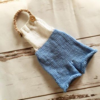 New Style Baby Romper Knitted Newborn Overalls Prop Baby Boy Onesuit Shower Gift Newborn Photography Props Newborn Pants