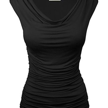 Cowl Neck Ruched Side Slim Fit Top S-3XL (18 Colors)