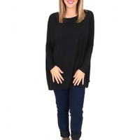 PIKO: Black Love On Top Long Sleeve Tunic | Monday Dress Boutique