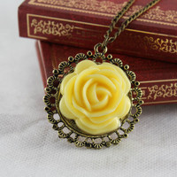 SALE! Vintage Victorian Resin Yellow Rose Flower In Round Lace Frame Cameo Pendant Necklace