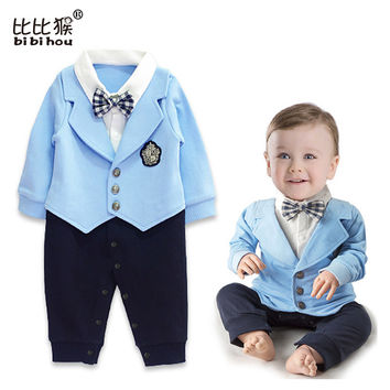 Baby Boy Clothes roupa infantil Romper Long Sleeve romper babykleding gentleman baptism Uniforms baby body suits newborn clothes